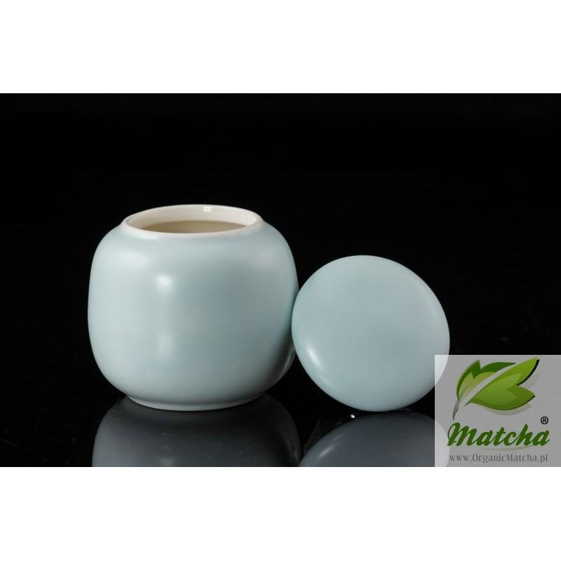 Light Blue Porcelain Tea Caddy for Organic Matcha